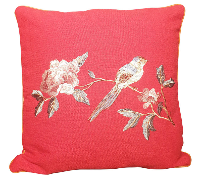Fine Asianliving Chinese Cushion 50x50cm Hand-embroidered Peony Bird Red