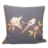 Fine Asianliving Cushion White handembroidered Rose and bird Navy 50x50cm