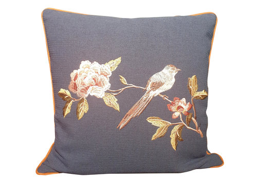 Fine Asianliving Fine Asianliving Cushion White handembroidered Rose and bird Navy 50x50cm