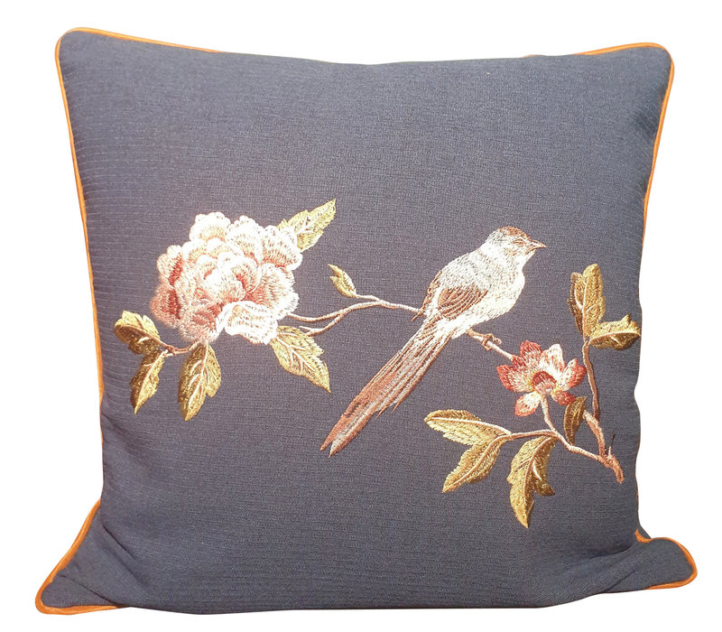 Fine Asianliving Cushion with Hand-embroidered Rose and Bird Navy 50x50cm
