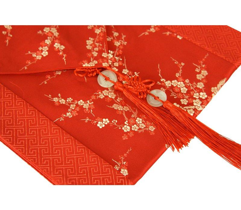 Chinesischer Tischläufer Blüten Rot 33x190cm