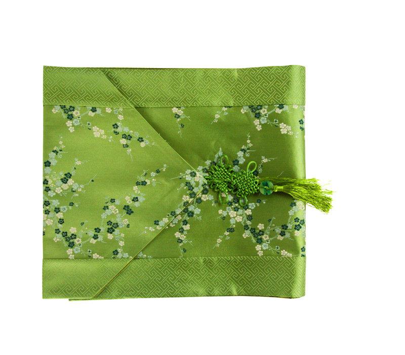 Chinesischer Tischläufer Blüten Grün 33x190cm
