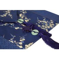 Chinesischer Tischläufer Blüten Blau 33x190cm