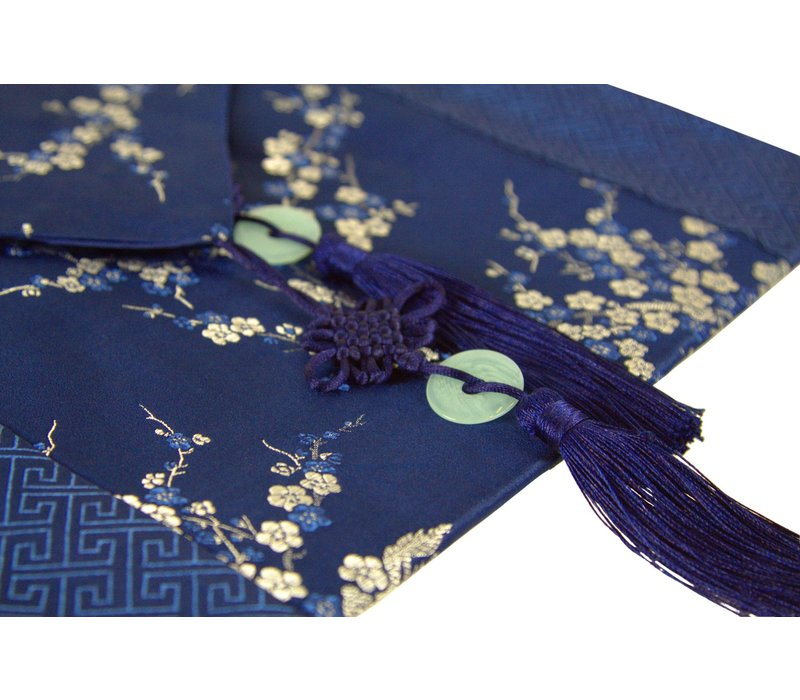 Chinese Tafelloper 33x190cm Bloesems Blauw