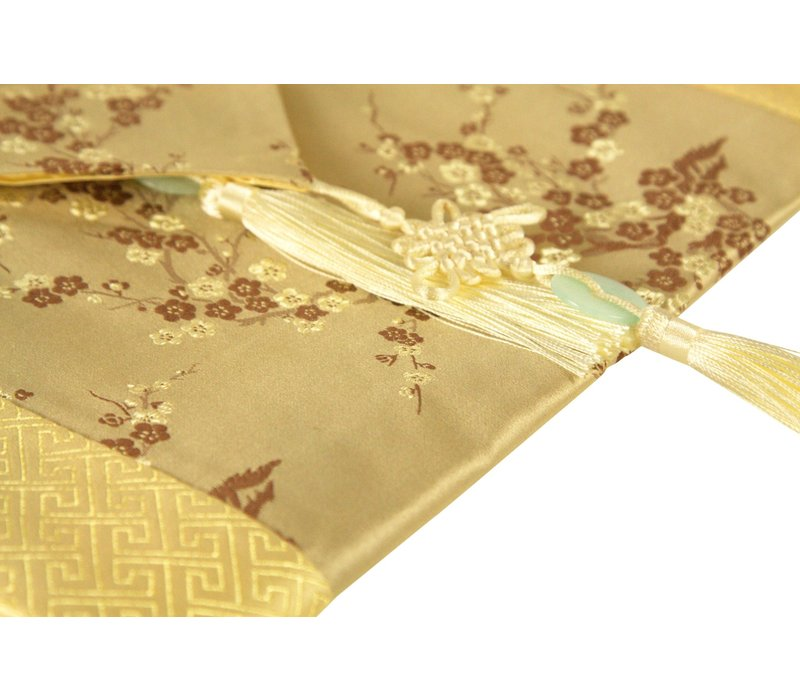 Chinese Table Runner 33x190cm Blossoms Beige