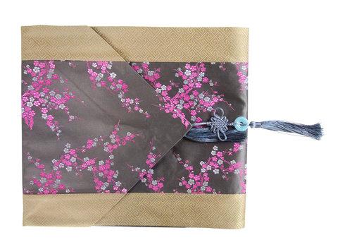 Fine Asianliving Chinesischer Tischläufer Blüten Grau Rosa 33x190cm