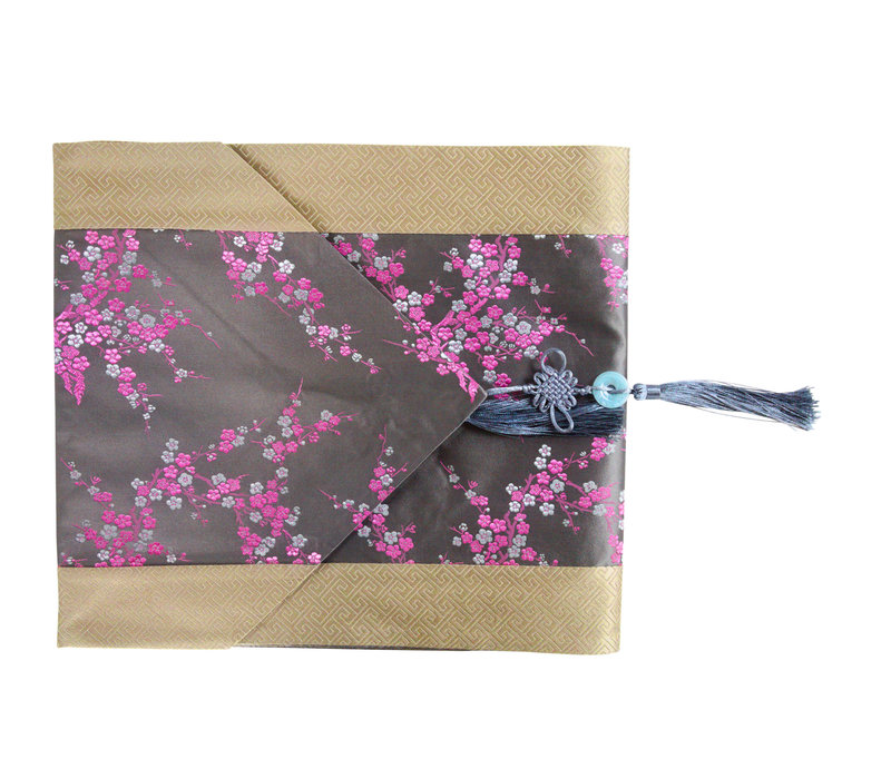 Chinese Table Runner 33x190cm Blossoms Grey Pink
