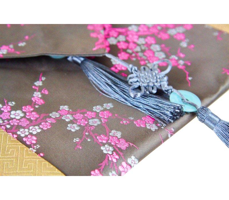 Chinese Tafelloper 33x190cm Bloesems Grijs Roze