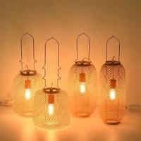 Lampe à Poser en Bambou Webbing Carmen Fait Main Diam17xH60cm
