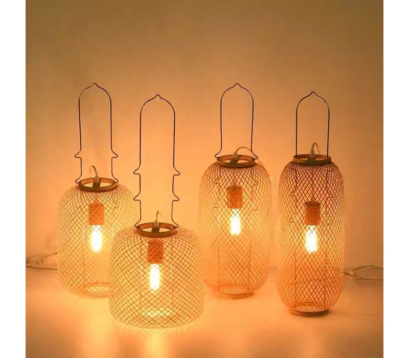Bamboe Webbing Lamp Handgemaakt - Carmen D17xH60cm