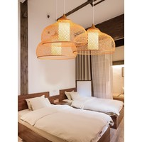 Bamboe Webbing Lamp D52xH30cm Rosa Handgemaakt