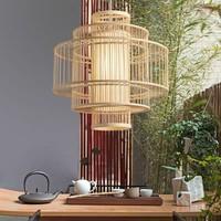 Bamboo Pendant Lamp Ceiling Lampshade Handmade - Leona
