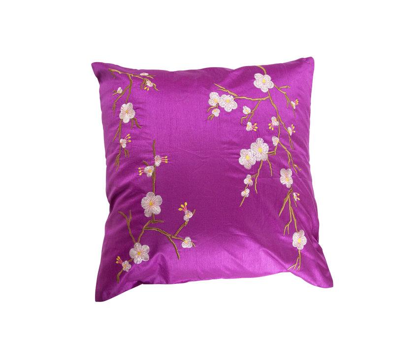 Chinese Cushion Sakura Cherryblossoms Magenta 40x40cm