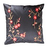 Fine Asianliving Chinese Cushion Sakura Cherry Blossoms Black 40x40cm