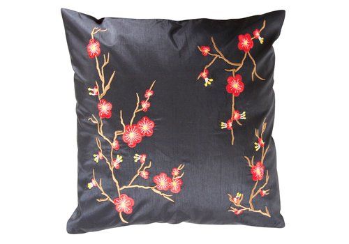 Fine Asianliving Chinese Cushion Sakura Cherryblossoms Black 40x40cm