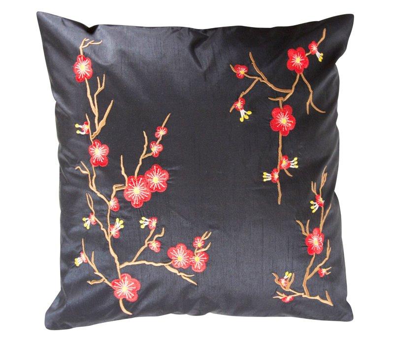 Chinese Cushion Sakura Cherry Blossoms Black 40x40cm
