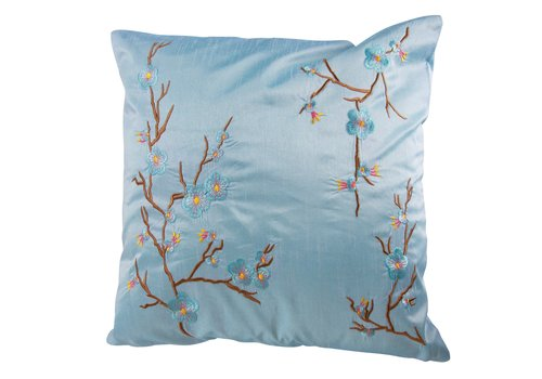 Fine Asianliving Chinese Kussen Sakura Kersenbloesems Lichtblauw 40x40cm