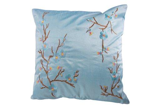 Fine Asianliving Coussin Chinois Bleu Cerisier en Fleurs 40x40cm