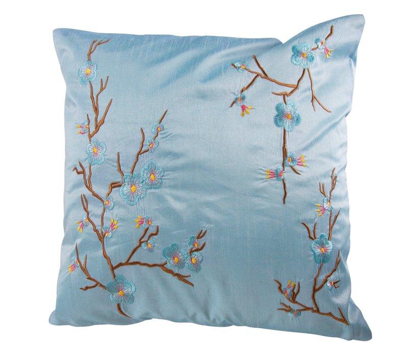 Chinese Cushion Sakura Cherry Blossoms Light Blue 40x40cm