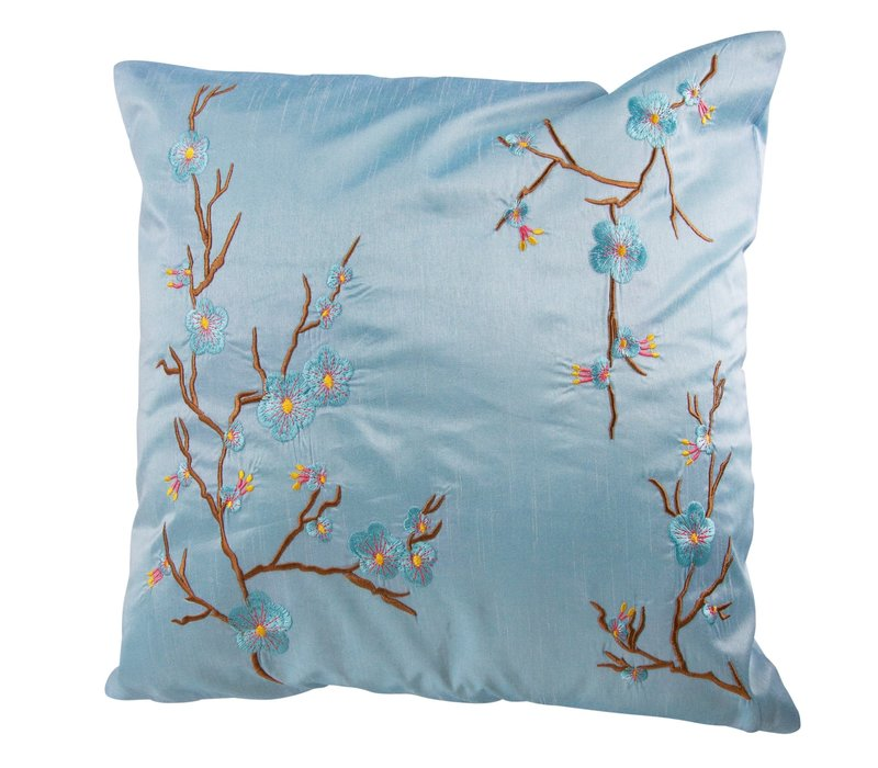 Chinese Kussen Sakura Kersenbloesems Lichtblauw 40x40cm