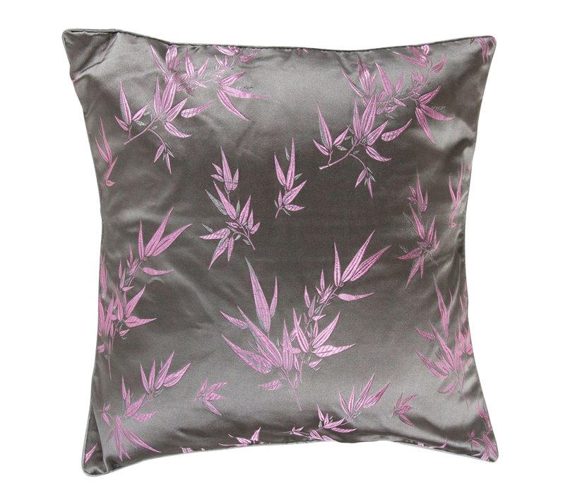 Chinese Cushion Bamboo Grey Pink 40x40cm