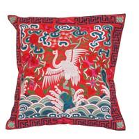 Chinese Kussen Volledig Geborduurd Rood Kraanvogel 40x40cm