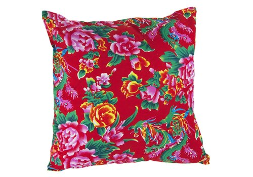 Fine Asianliving Chinees Kussenhoes 40x40cm Traditionele Dongbei Bloemen Rood Zonder Vulling