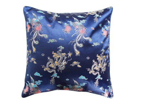 Fine Asianliving Chinese Cushion Dark Blue Dragon 45x45cm
