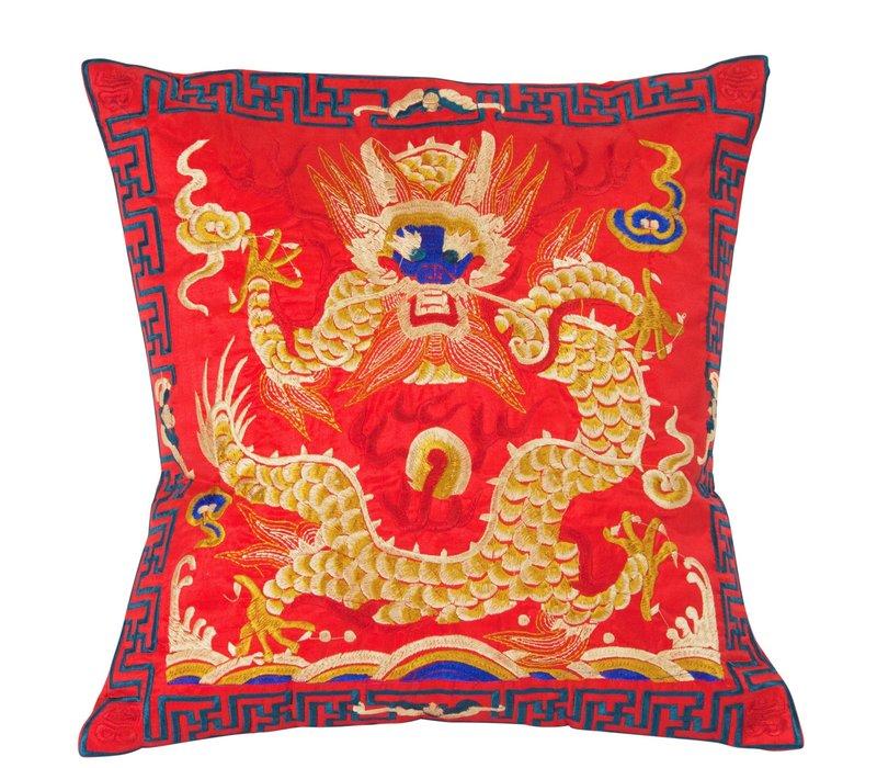 Chinese Kussen Volledig Geborduurd Rood Draak 40x40cm