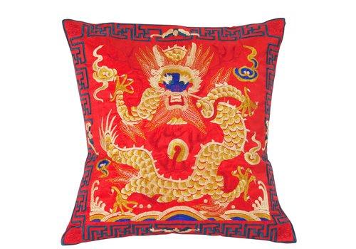 Fine Asianliving Housse de Coussin Rouge Dragon Brodé à la Main 40x40cm