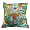 Fine Asianliving Cushion Cover Hand-embroidered Green Dragon 40x40cm without Filling