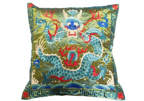 Fine Asianliving Housse de Coussin Verte Dragon Brodé à la Main 40x40cm