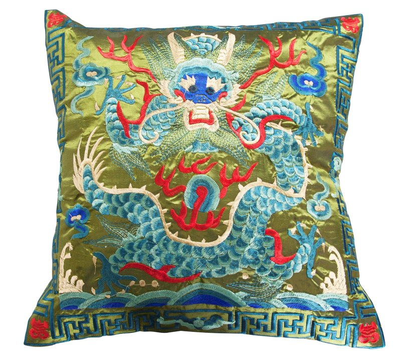Cushion Cover Hand-embroidered Green Dragon 40x40cm without Filling