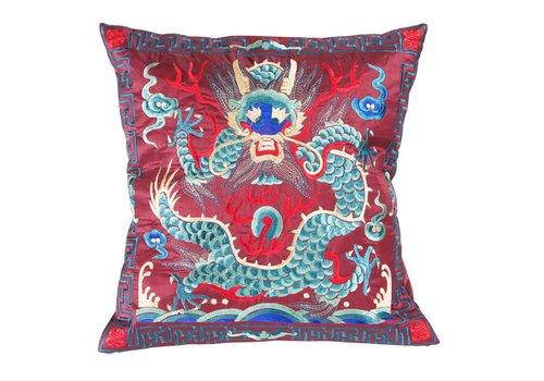 Fine Asianliving Coussin Chinois Rouge Dragon Brodé à la Main 40x40cm
