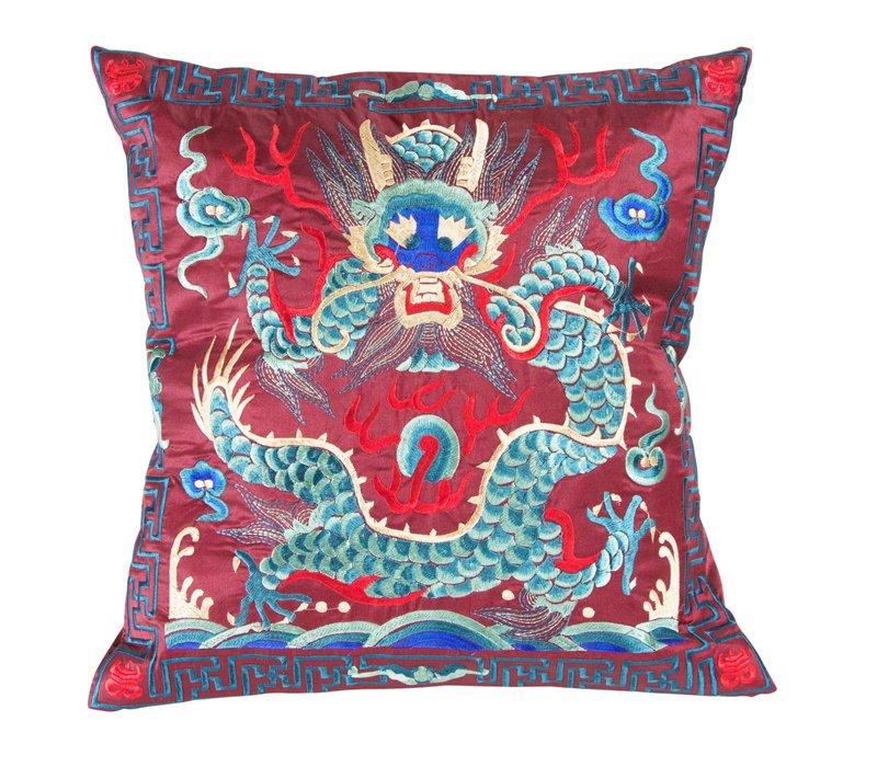 Chinesisches Kissen Handbestickt Burgunderrot Drache 40x40cm