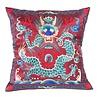 Fine Asianliving Kissenbezug Handbestickt Burgunderrot Drachen 40x40cm ohne Füllung