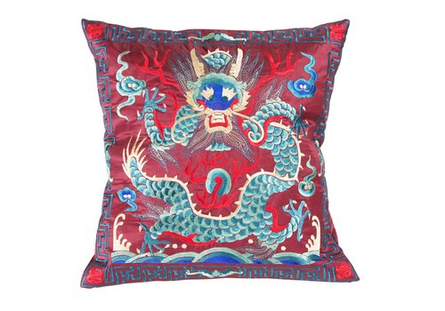 Fine Asianliving Cushion Cover Hand-embroidered Burgundy Dragon 40x40cm without Filling