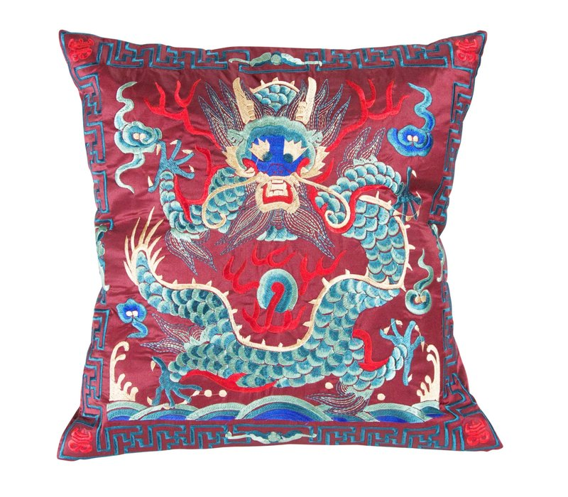 Cushion Cover Hand-embroidered Burgundy Dragon 40x40cm without Filling