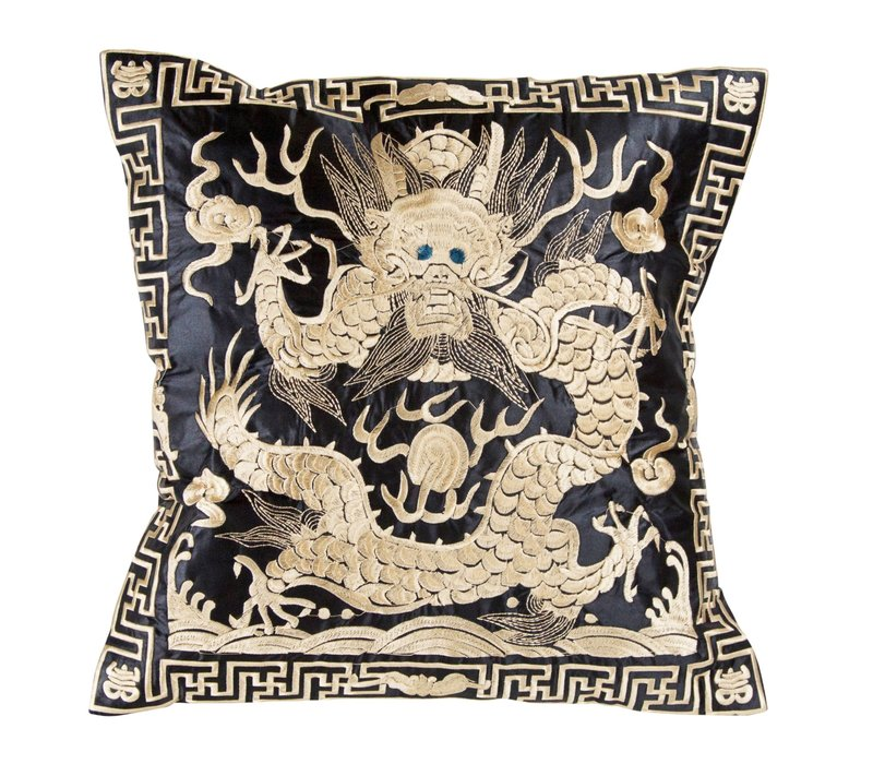 Cushion Cover Hand-embroidered Gold Dragon 40x40cm without Filling