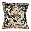 Fine Asianliving Chinese Cushion Hand-embroidered Gold Dragon 40x40cm