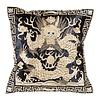 Fine Asianliving Chinese Kussen Volledig Geborduurd Goud Draak 40x40cm