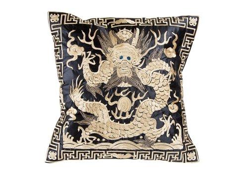 Fine Asianliving Chinesisches Kissen Handbestickt Gold Drache 40x40cm
