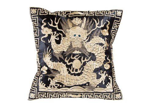 Fine Asianliving Coussin Chinois Or Dragon Brodé à la Main 40x40cm