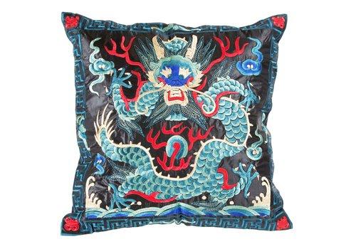 Fine Asianliving Chinese Kussen Volledig Geborduurd Blauw Zwart Draak 40x40cm