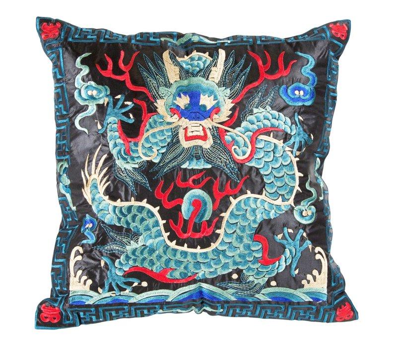Chinese Kussen Volledig Geborduurd Blauw Zwart Draak 40x40cm