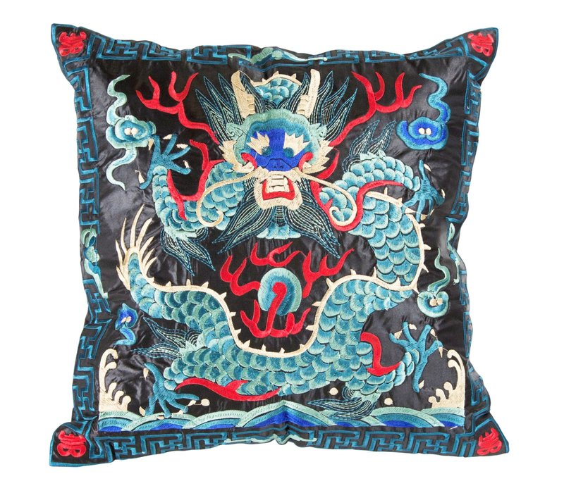 Cushion Cover Hand-embroidered Blue Black Dragon 40x40cm without Filling