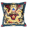 Fine Asianliving Chinese Cushion Hand-embroidered Black Yellow Dragon 40x40cm