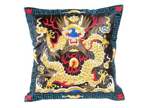 Fine Asianliving Chinese Kussen Volledig Geborduurd Zwart Geel Draak 40x40cm