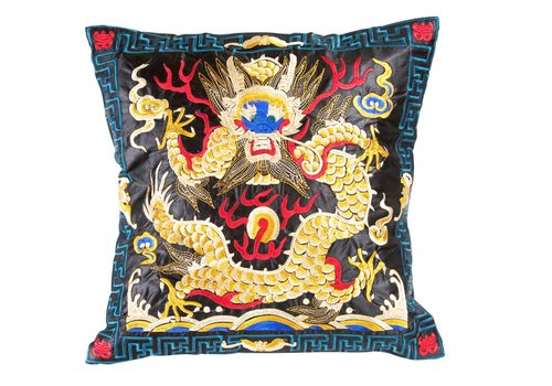 Fine Asianliving Chinesisches Kissen Handbestickt Schwarz Gelb Drache 40x40cm