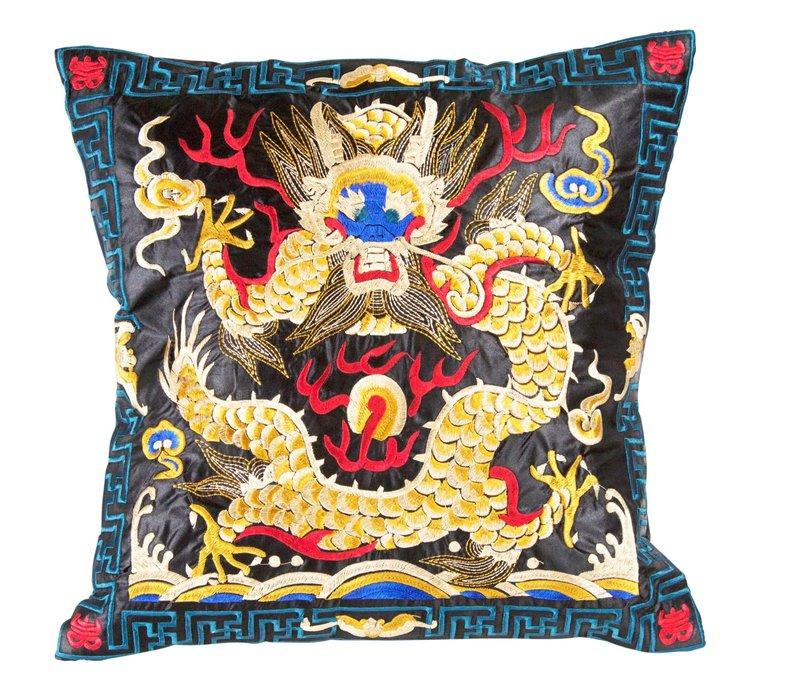 Chinese Kussen Volledig Geborduurd Zwart Geel Draak 40x40cm